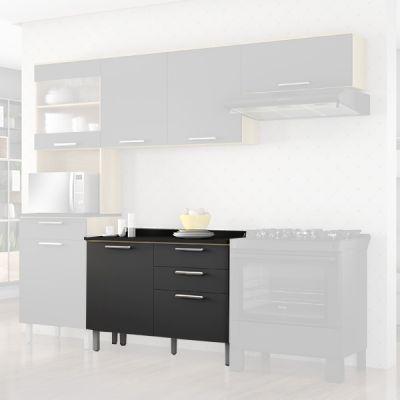 Balcão Cozinhas Itatiaia Clean - 1 Porta e 3 Gavetas - Grafite Intenso