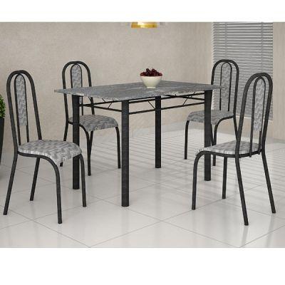 Mesa c/4 Cadeiras 120X75 New Lisboa Martelado/Topázio/Tempest BR Teixeira