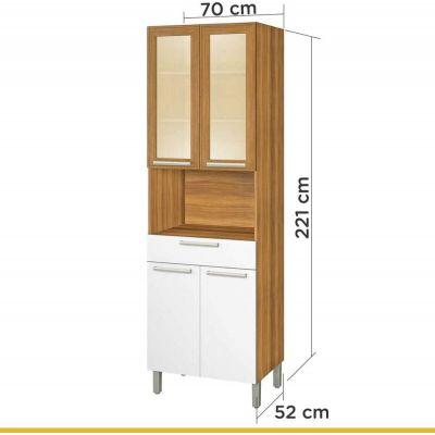 Paneleiro 4 Portas 1 Gaveta Burguesa Nesher Móveis Amadeirado Feijó/Branco