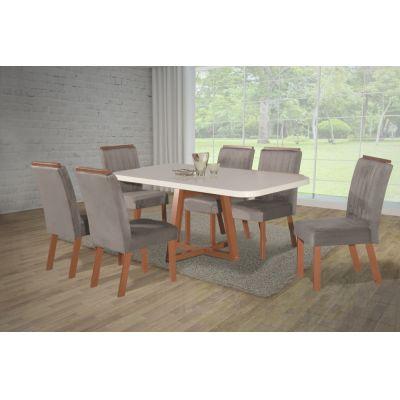 Mesa c/6 cadeiras Cabo Frio New 180x90 Argila 2029 Bom Pastor