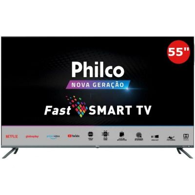 TV Smart 4K 55 Philco LED UHD PTV55G70SBLSG HDR 4 HDMI 2 USB