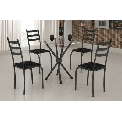 Mesa c/4 cadeiras Tampo de Vidro Marabá Base Ipanema C. Tempest Preto Martelado
