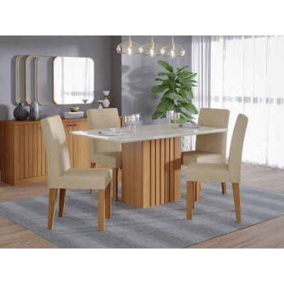 Mesa c/4 Cadeiras Ana 138x80 Nature/Off-White Cimol
