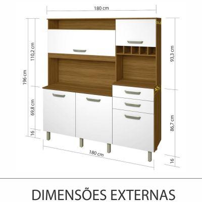 Armário Madeira Kit Smart Nesher 180 - Freijó /Branco
